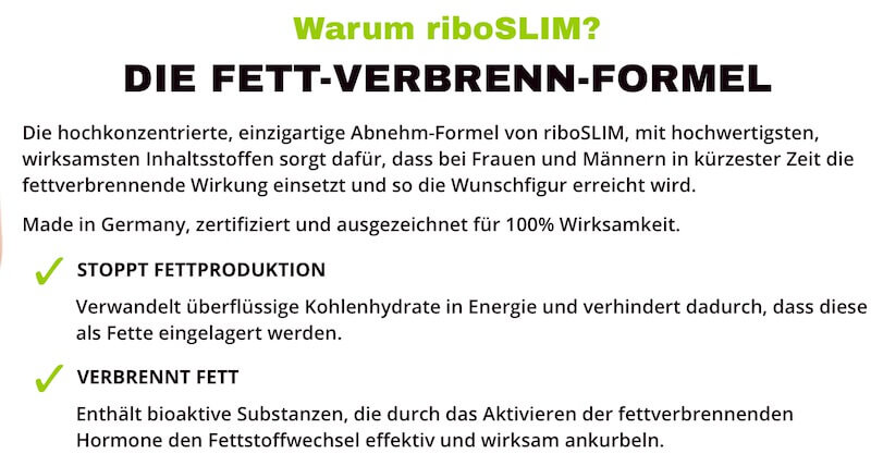 Riboslim - Herstellerangaben zur Wirkung